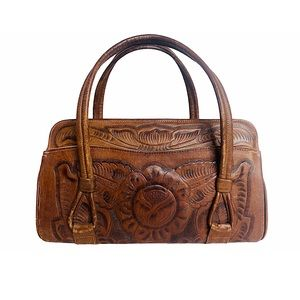 Vtg 70s Boho Tooled Leather Satchel Floral Tassel